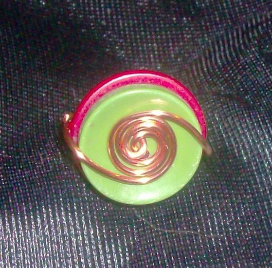Copper Wire Wrapped  Button Ring