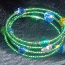 Green Seed Bead Memory Bracelet
