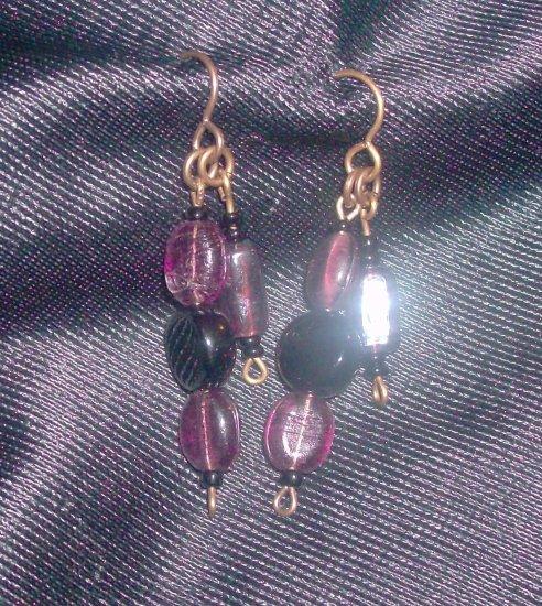 Vintage Purple and Black Glass Earrings