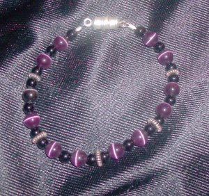 Purple and Black Beads with Pewter Spacers Bracelet