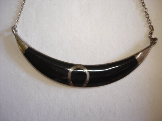 Sterling Silver Black Enamel Necklace Vintage