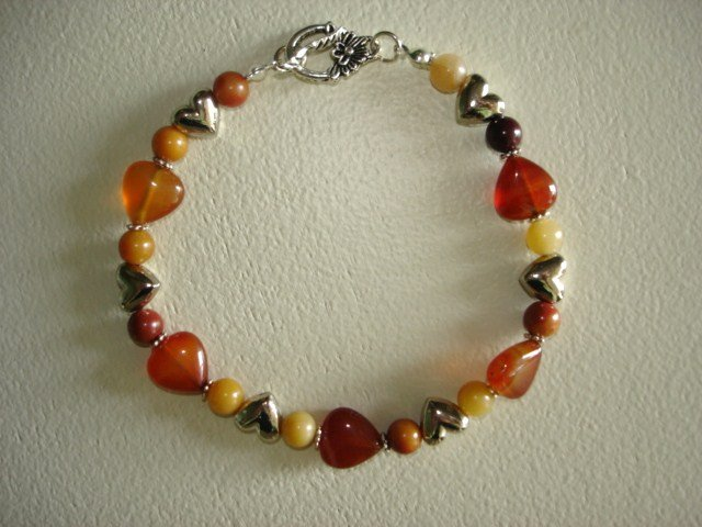 Amber Agate & Silver Heart Bracelet - Handcrafted