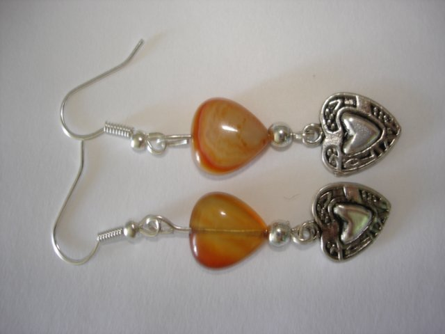 Handcrafted Amber Agate Heart Charm Dangle Earrings - 2""