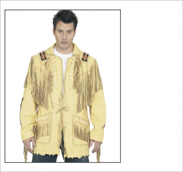 MCAARGMJ804 Mens Creamy-Yellow Western Style Leather Jacket