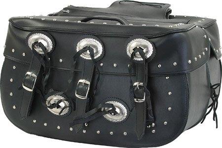 MCAARGSD4000-PVC   BIG  ZIP-OFF SADDLE BAG WITH CONCHOS