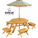 Octagon Table & 4 Stools and Multi Striped Umbrella Item# 00042
