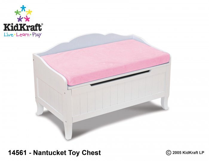 Nantucket Toy Box w/pink cushion Item # 14561
