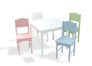 Nantucket White Table & 4 Pastel Chairs Item # 26101