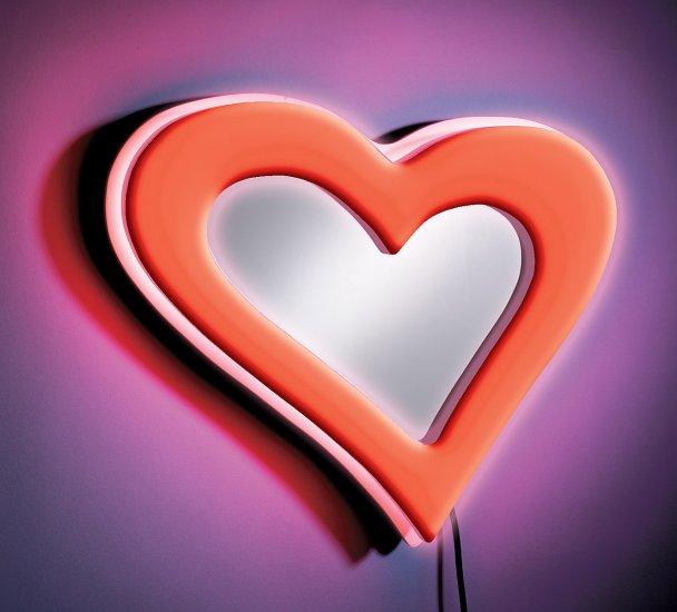 Neon Heart Wall Mirror - Red Item # WB-NWM HRT-R