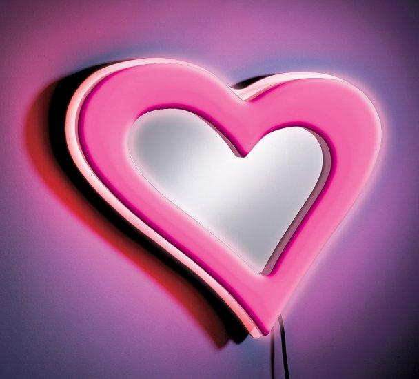 Neon Heart Wall Mirror - Pink Item # WB-NWM HRT-PK