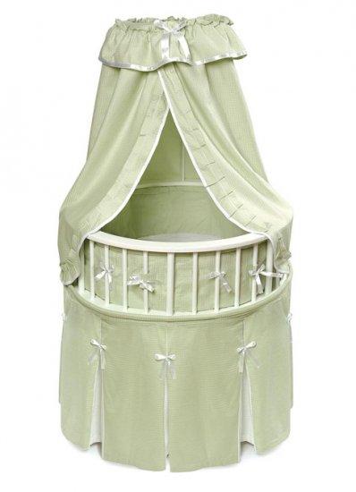 White Elegance� Round Baby Bassinet w/Sage Waffle Bedding Item # 00831