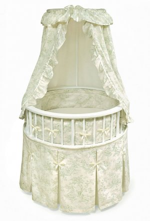 White Elegance� Round Baby Bassinet w/Sage Toile Bedding Item # 00832