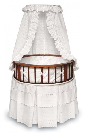 Cherry Elegance Round Bassinet w/White Eyelet Bedding Item # 00829