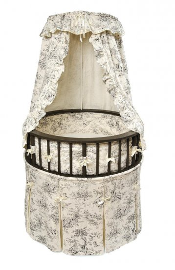 Black Elegance Round Baby Bassinet w/Black Toile Bedding Item # 00838
