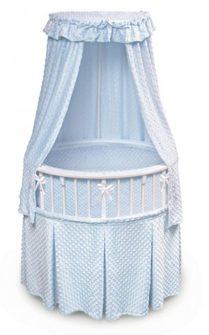 White Elite� Oval Bassinet with Blue Furry Dot Bedding Item # 00821