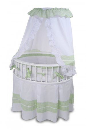 White/Sage Gingham Elite� Oval Baby Bassinet Item # 00850