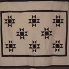 Beautiful Hand Quilted Navy & Cream 8 Point Star Quilt