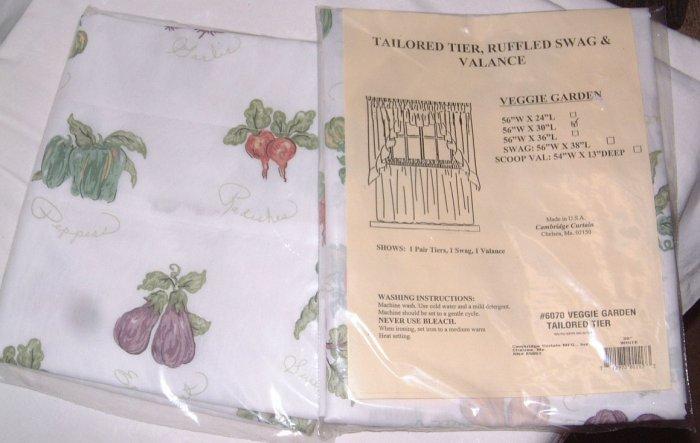 "White Veggie Garden 60"" Valance & 2 Tiers Curtains Lined NIP"