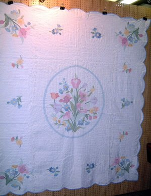 Hand stitched Embroidered Quilt Flowers / Blue Trim