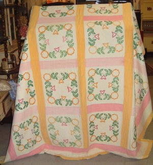 Vtg Embroidered Quilt Yellow Pink Heavy & Warm