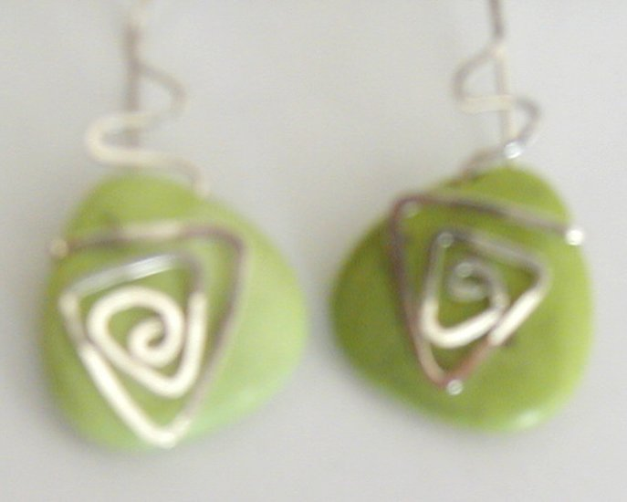 silver, green turquoise earrings