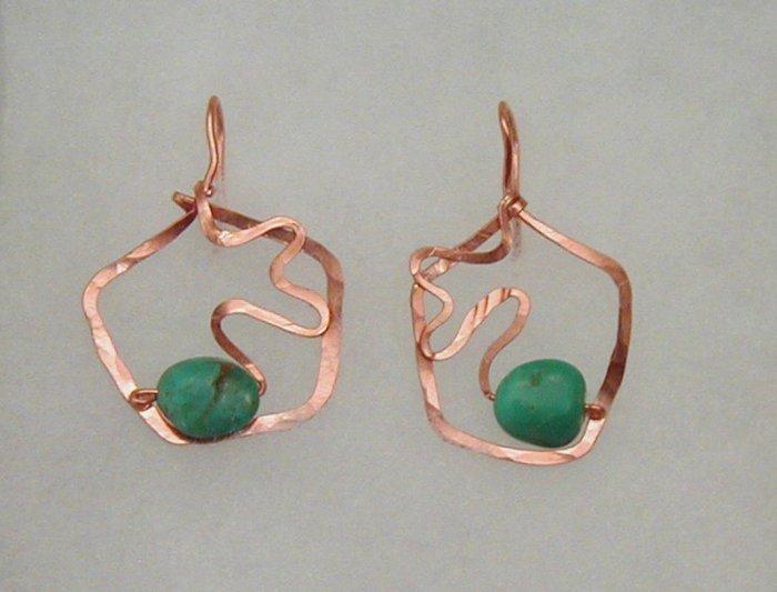 copper turqoise squiggle earrings