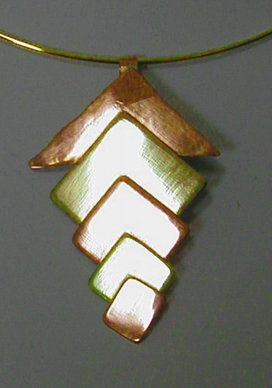 5-tier copper& brass pendant necklace