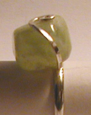 silver, green topaz ring