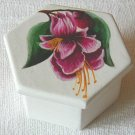 Jewelry box, white with Fushia flower