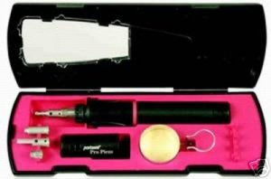 PORTASOL PRO PIEZO GAS SOLDERING IRON KIT WITH ATTACHEMENTS AND CASE