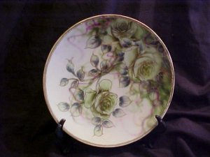 Vintage Handpainted Decorative Plate with Green Roses