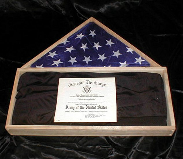 New Cherry Wood Burial Flag Certificate Display Case