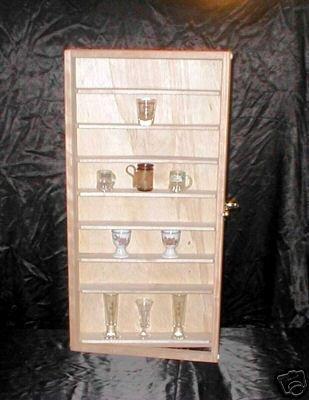 NEW 48 Shot Glass Display Case Cabinet With Door Cherry