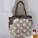 New Authentic Coach Audrey Op Art Swirl Signature Slim Tote Bag Brown 17044 $298