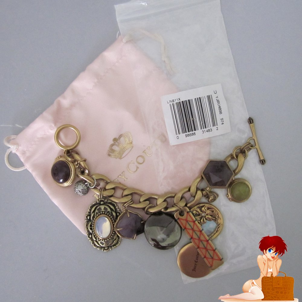 New Authentic in Pouch Juicy Couture Gold Locket and Stone Charm Bracelet