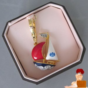 New Authentic Box Juicy Couture Red White Blue Gold Pave Crystal Sailboat Charm