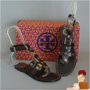 New Authentic Tory Burch Briza Gladiator Sandals Flats Anthrocite 8.5
