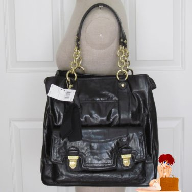 New Auth Coach Poppy Leather Pushlock North South Tote Bag Purse 17924 Black
