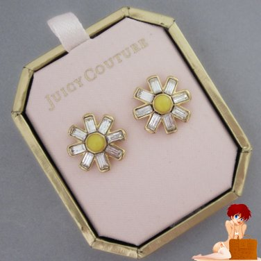 New Authentic Juicy Couture Daisy Crystal Stud Studs Earrings Gold YJRU5246 $48