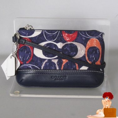 New Authentic Coach Legacy Heritage Signature Multi-Function Wristlet 48027 Navy