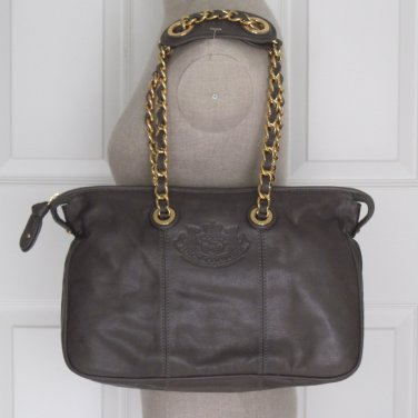 New Authentic Juicy Couture Small Lena Leather Shoulder Bag Purse Smokey Grey