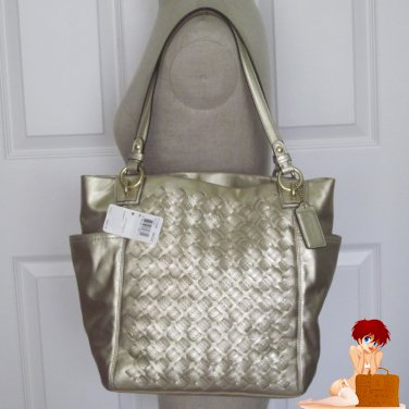 New Authentic Coach Metallic Leather Woven NS Tote HandBag Purse Gold 17099 $458