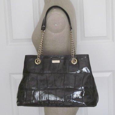New Auth Kate Spade Knightsbridge Maryanne Croc Patent Leather Handbag Graphite