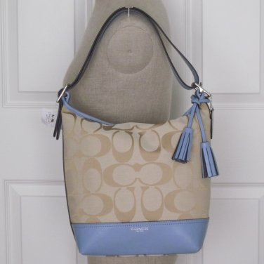 New Authentic Coach Legacy Signature Jacquard Duffle Bag Purse Blue / Khaki 21149