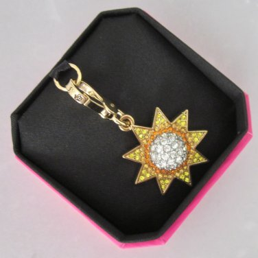 New Authentic Juicy Couture Boxed Pave Sun Charm Gold Yellow YJRU6432 $38