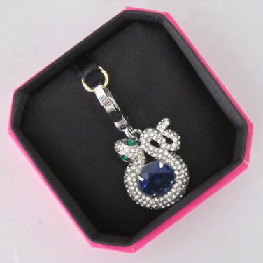 New Authentic Juicy Couture Pave Snake and Gemstone Charm Silver Blue YJRU6430