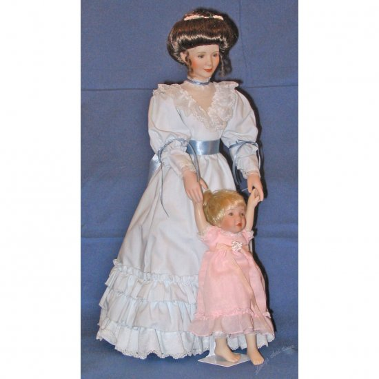 "17"" Mother and Daughter Porcelain Doll Set LOVING STEPS by Sandra Kuck from Ashton Drake Galleries"