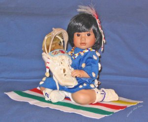Porcelain Doll Little Fawn's Papoose native american by Carol Theroux from Georgetown