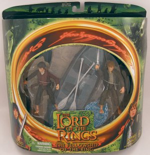 FRODO SAMWISE action figures Lord of the Rings Fellowship NRFB 2001