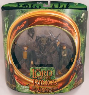 MERRY PIPPIN MORIA ORC action figures Lord of the Rings Fellowship NRFB 2001